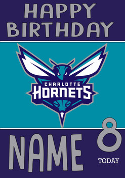Personalised Charlotte Hornets Birthday Card 2