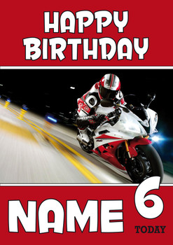 Personalised Bike Racer 2 Birthday Card