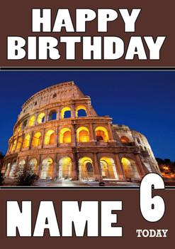 Personalised Colloseum Birthday Card