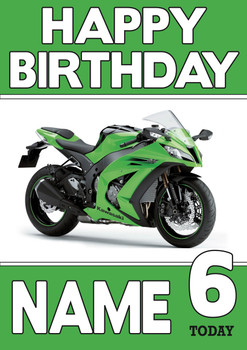 Personalised Kawasaki Bike Birthday Card 2