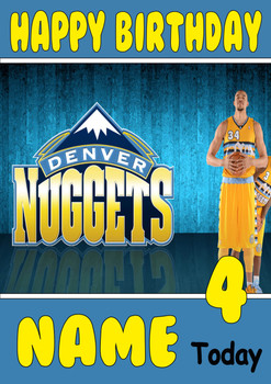 Personalised Denver Nuggets Birthday Card 3