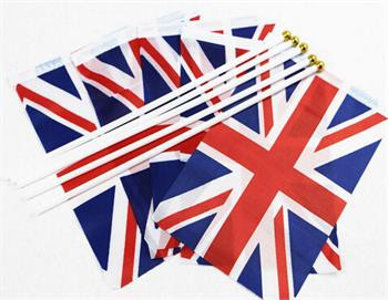 100 Union Jack Flags On Sticks