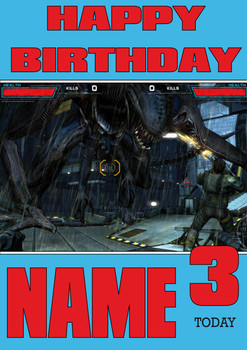 Retro Gaming Alien Personalised Card