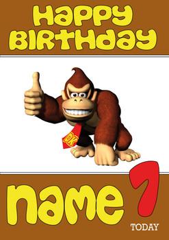 Retro Gaming Donkey Kong Personalised Card