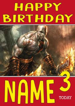 Retro Gaming Kratos Personalised Card