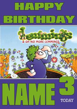 Retro Gaming Lemmings Personalised Card