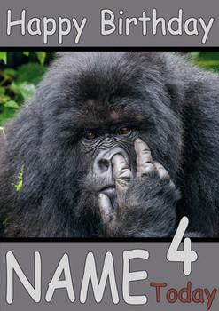 Ape Picking Nose Personalised Birthday Card