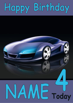 Concept Car Personalised Birthday Card