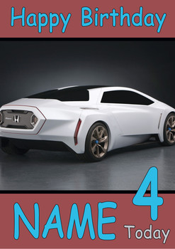 Honda Sport Concept Car Personalised Birthday Card