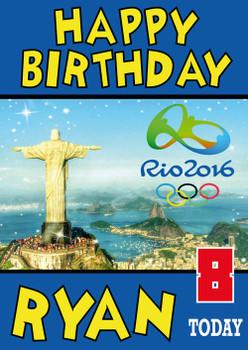 Olympics New 1 Birthday Card