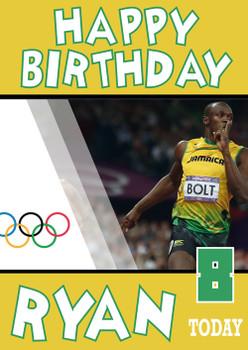 Olympics New 2 Birthday Usain Bolt Card