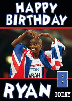 Olympics New 3 Mo Farah Birthday Card