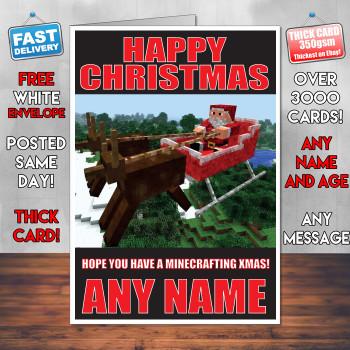 Minecrafting Xmas 1 Personalised Christmas Card
