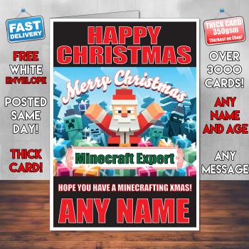 Minecrafting Xmas 2 Personalised Christmas Card