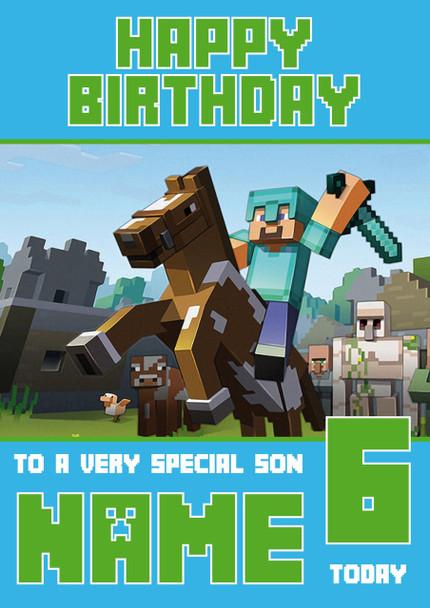 Minecrafting Theme 3 Birthday Card