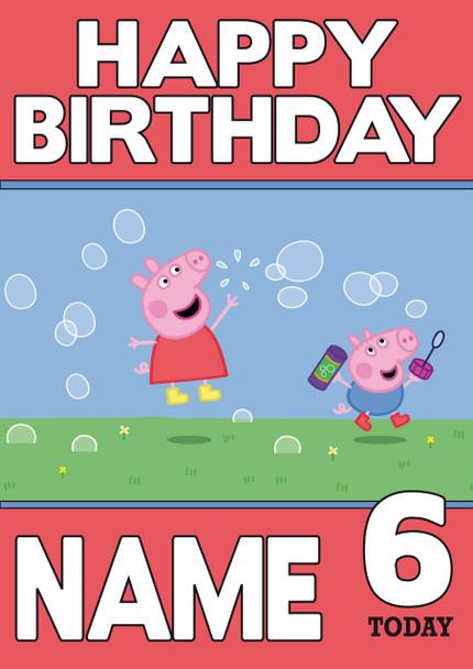 Personalised Peppa Pig Birthday Card Celebrity Facemasks