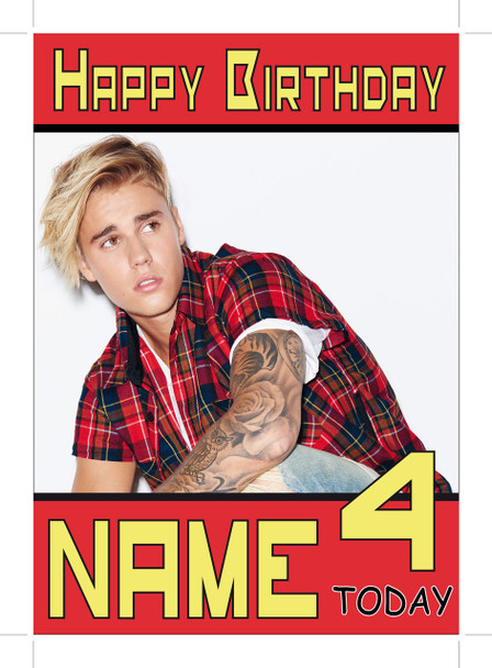 Justin Bieber Red Shirt Personalised Birthday Card Celebrity