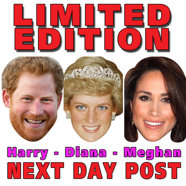 Limited EDITION Prince Harry Princess Diana Di Meghan Markle Royal Celebrity Face Mask