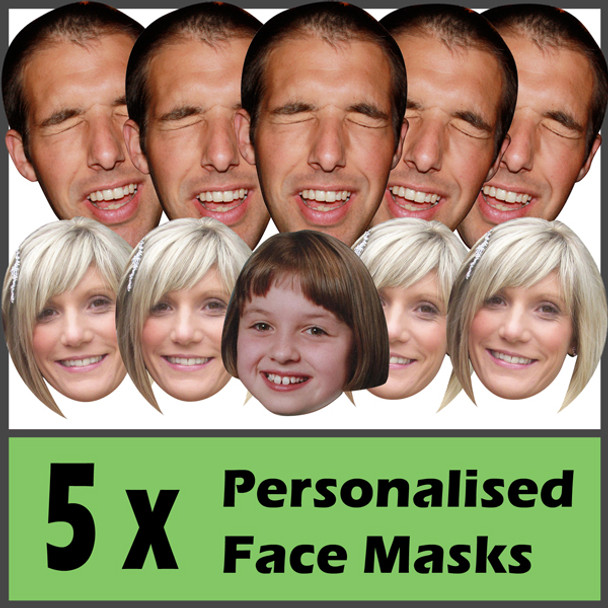 5 X Personalised Face Masks Stag   Hen   Birthday   Wedding