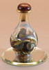 """Olive Marble Contemporary Tear Bottle - pictured with Optional 2"""" Beveled Mirror - Sold Separately"""