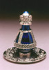 Silver Banded Roma Tear Bottle with Optional Silver Tray with Solid Rim - Sold Separately