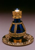 """Gold Banded Blue Roma Tear Bottle pictured with Optional 2"""" Gold Tray with Solid Rim - Sold Separately"""