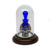 "Paw Print Heart Keepsake Bottle on 1 1/2"" Beveled Mirror in Tall Mini Dome"