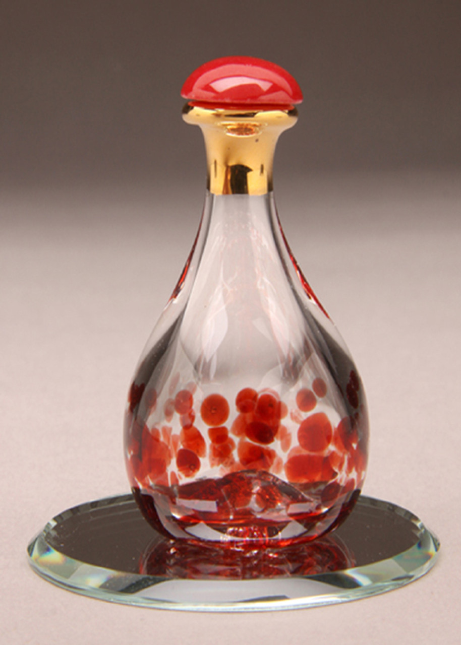 """Red Contemporary Tear Bottle - pictured with Optional 2"""" Beveled Mirror - Sold Separately"""