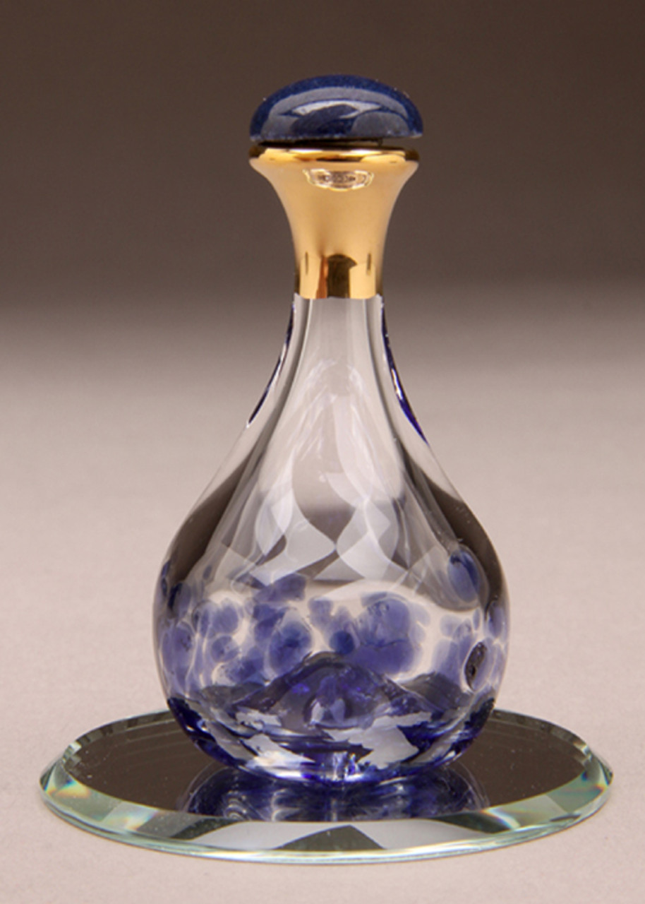 """Blue Contemporary Tear Bottle - pictured with Optional 2"""" Beveled Mirror"""