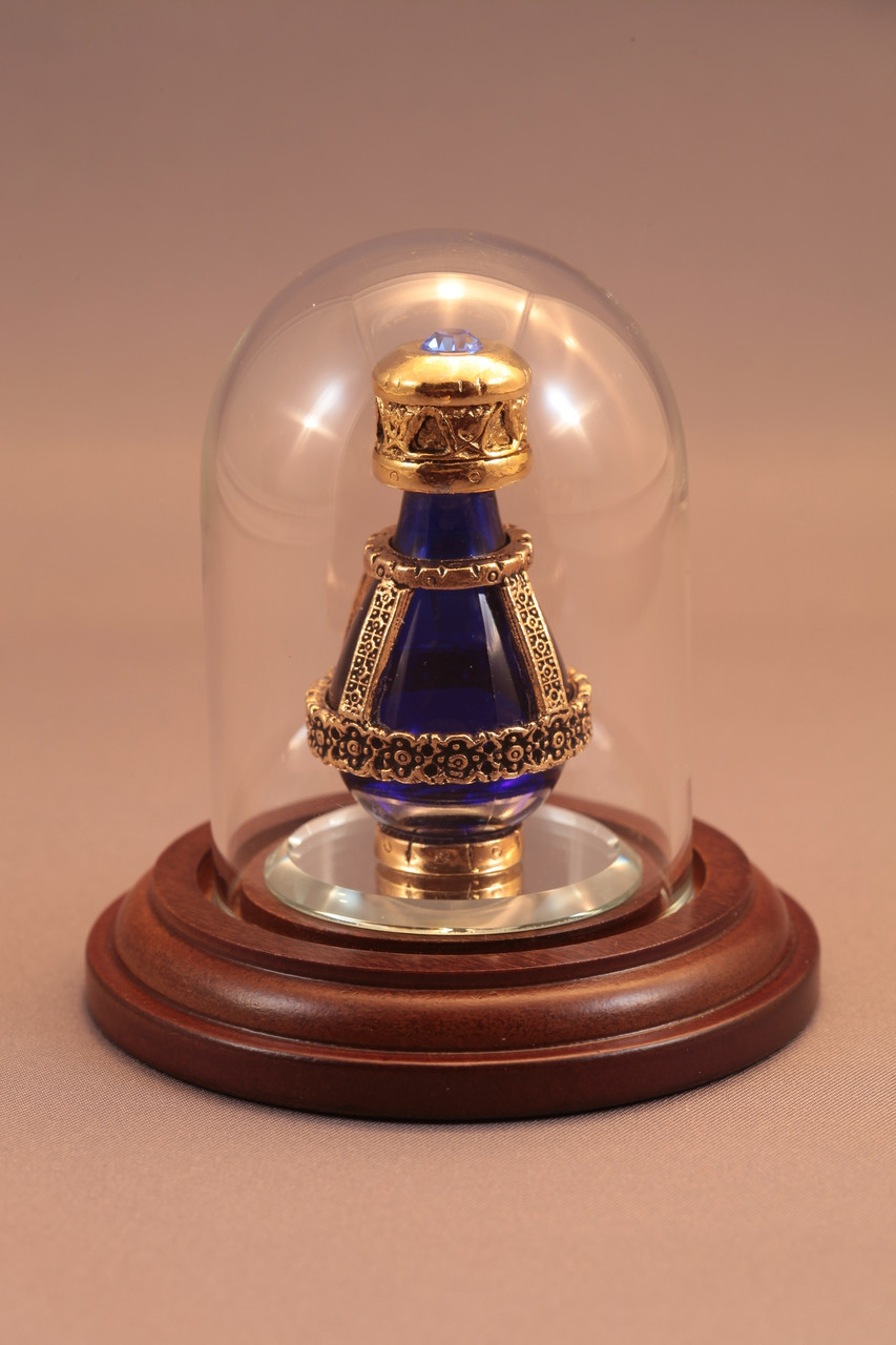 Gold Banded Blue Roma Tear Bottle pictured with optional Short Mini Dome and 1 1/2'' Beveled Mirror - Both Sold Separately
