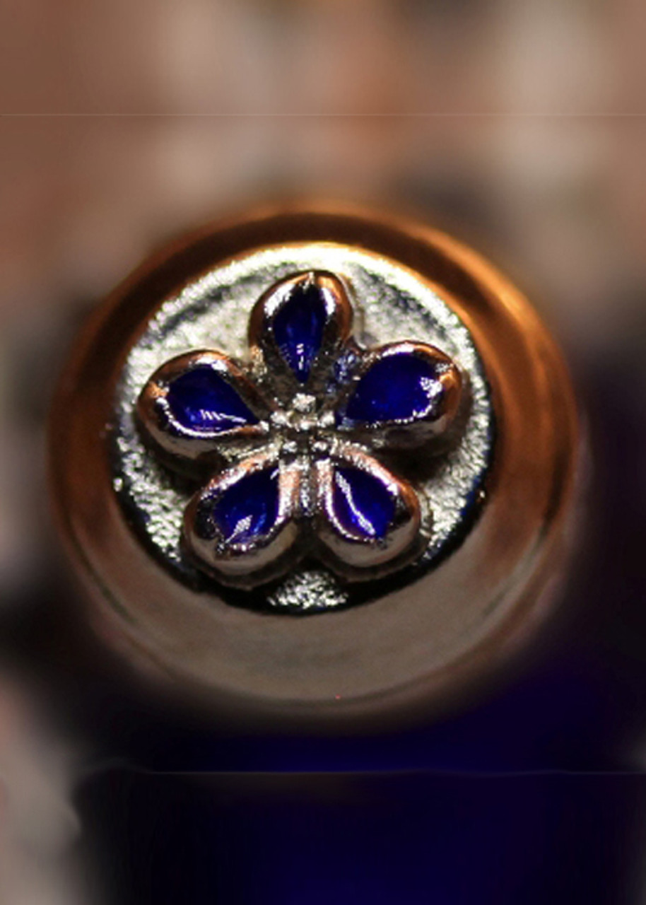 Forget Me Not Tear Bottle Cap Colored - Close up of detail