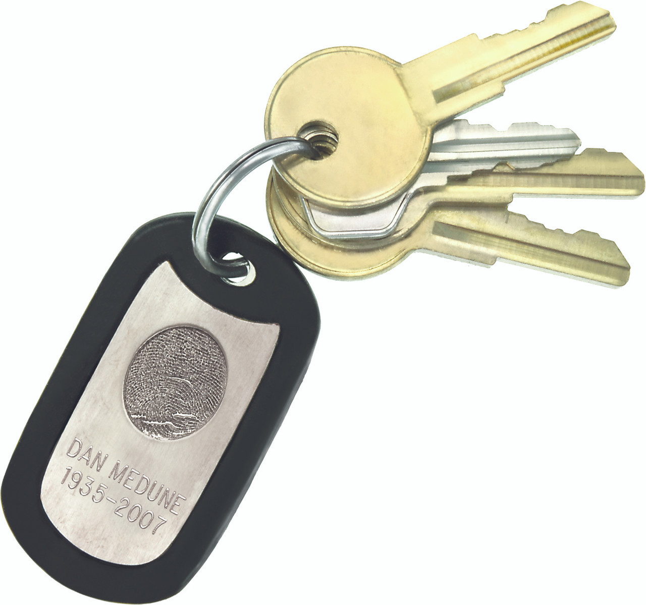 """KeyTags come complete with a black rubber silencer, a 30"""" stainless steel ball chain, and a split ring for holding keys."""