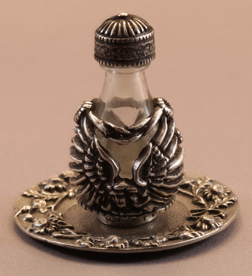 Pewter Angel with Clear Glass - pictured with Optional Pewter Tray - Trays/Mirrors and Domes Sold Separately