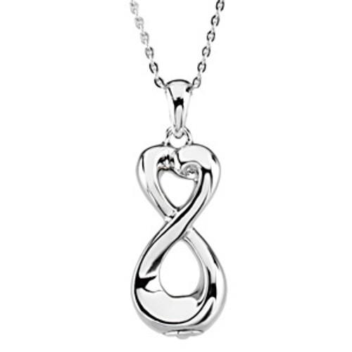 Silver Infinite Love™ Ash Pendant 33.60mm x 12.40mm 11.60 grams 7.46 DWT