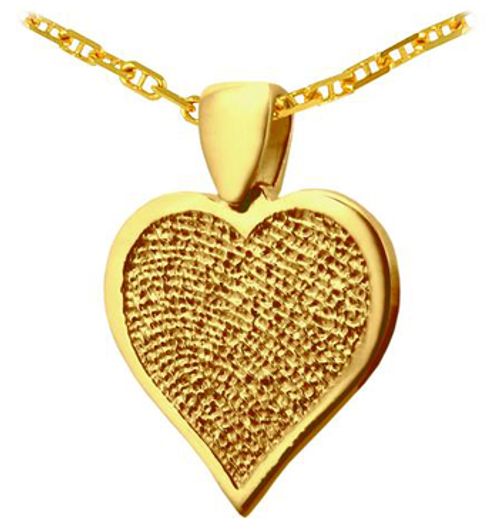 Single HeartFelt Charm in Gold with Rimmed Print and Anchor Chain