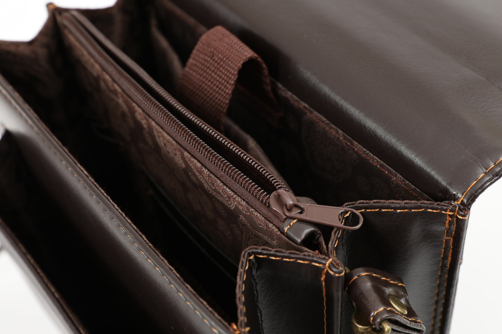 Small Brown Faux Leather Messenger Bag, Tablet Bag