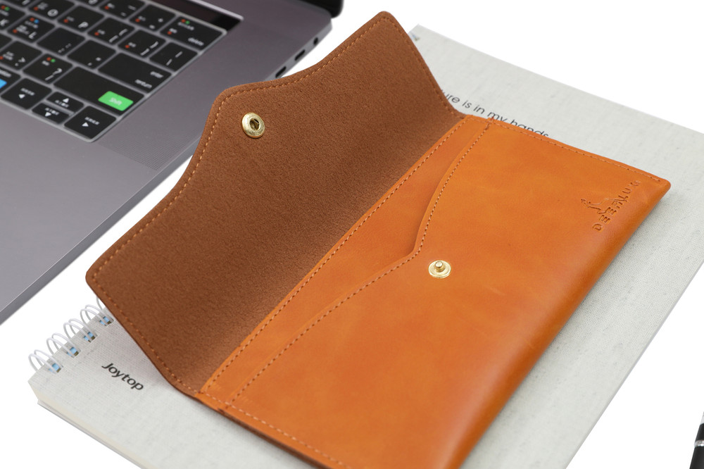 Tan Faux Leather Phone Clutch