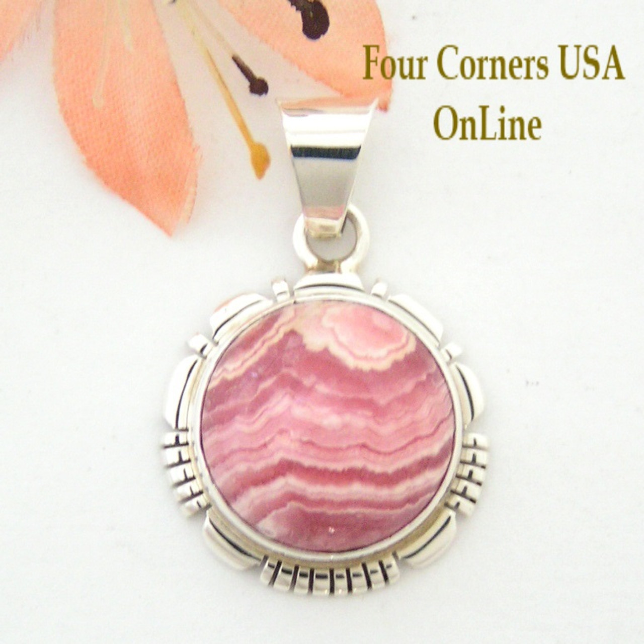 Rhodochrosite sterling oval pendant native american robert concho rhodochrosite sterling oval pendant native american robert concho four corners usa online navajo silver jewelry nap aloadofball Choice Image