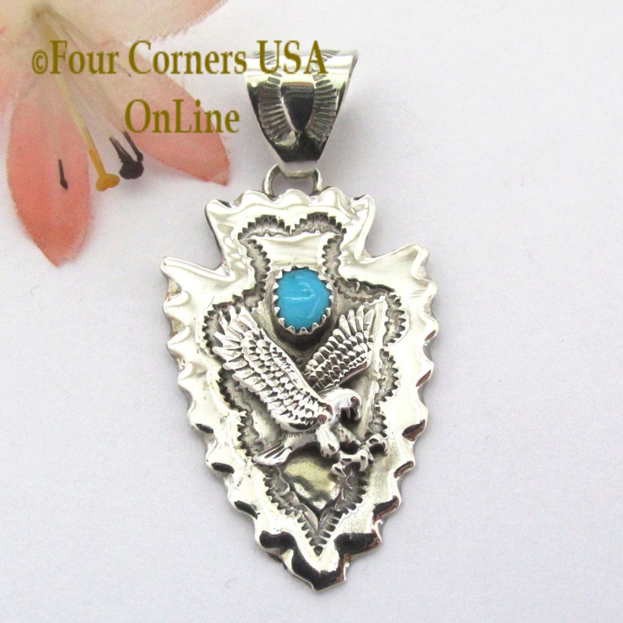 Eagle arrowhead pendant nap 1480 navajo silver jewelry four arrowhead eagle turquoise pendant navajo silversmith alice johnson nap 1480 four corners usa online native aloadofball Choice Image