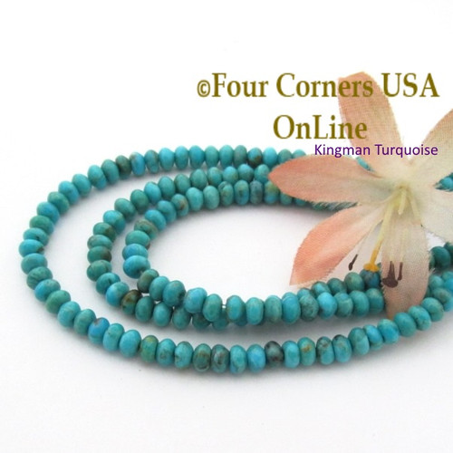 usa inch strand supplies blue american rounded jewelry turquoise heishi kingman four beads tq rondelle corners online