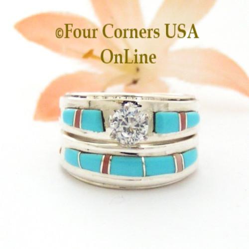 Size 6 Turquoise Pink Coral Engagement Bridal Wedding Ring Set