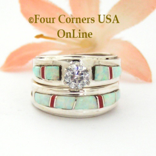 Size 5 White Fire Opal and Coral Engagement Bridal Wedding Ring Set