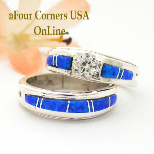 Size 8 1/2 Blue Fire Opal Engagement Bridal Wedding Ring Set Navajo Wilbert  Muskett