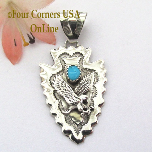 Mens pendants necklaces native american jewelry four corners usa arrowhead eagle turquoise pendant navajo silversmith alice johnson nap 1480 four corners usa online native aloadofball Gallery