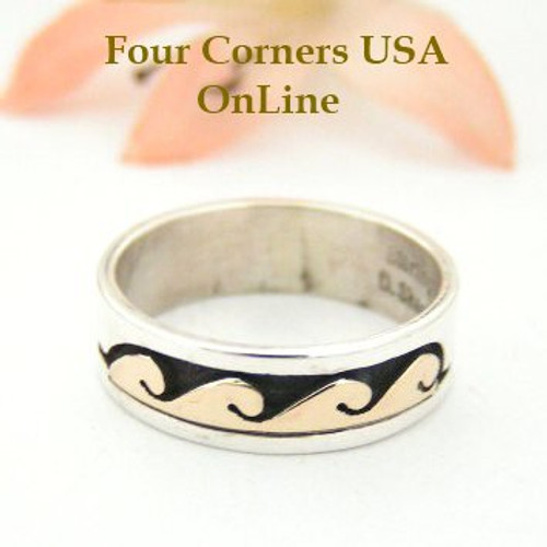 Size 6 Ring 14K Gold Silver Wave Water Symbol Native American ...