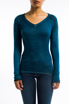 Cashmere Fitted V Neck Sweater Sky