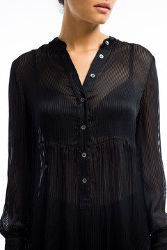 Silk Empire Blouse Black