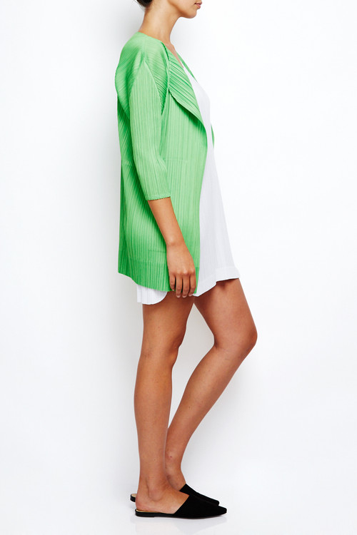 Issey Miyake Pleats Please Long Green Cardigan