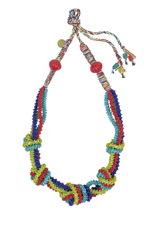 Multi-Colored Beaded Knots Necklace