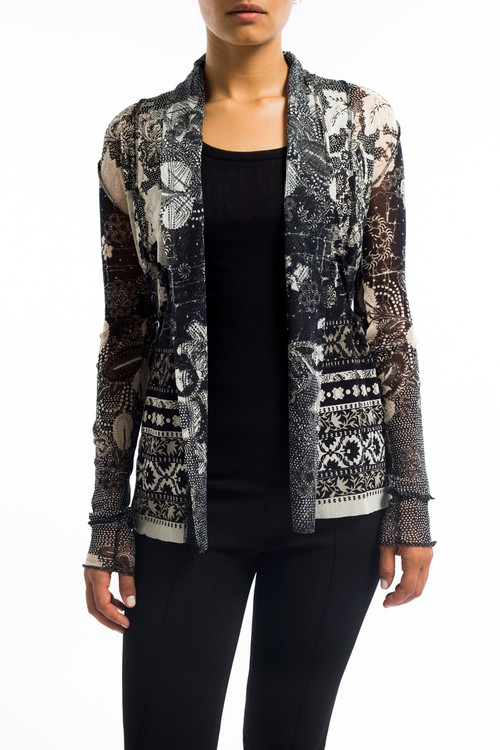 Black Batik Cardigan with Tie